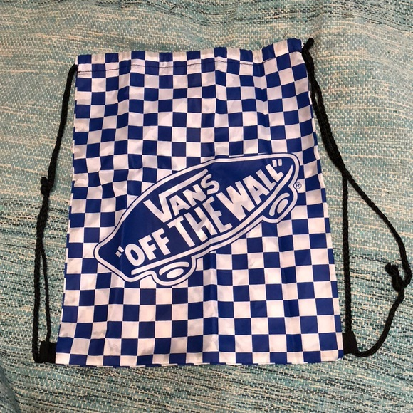 679518ae59 New VANS blue checkerboard drawstring backpack. M 5ab0653fa4c485ccccd28d57